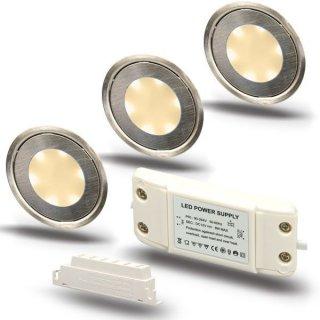 ARGOSeasy - SET: 3x LED (Boden-)Einbaustrahler Edelstahl rund IP54 warmweiß + Netzteil