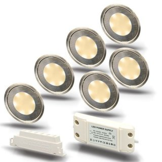 ARGOSeasy - SET: 6x LED (Boden-)Einbaustrahler Edelstahl rund IP54 warmweiß + Netzteil