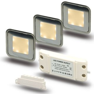 ARGOSeasy - SET: 3x LED (Boden-)Einbaustrahler Edelstahl quadratisch IP54 warmweiß + Netzteil