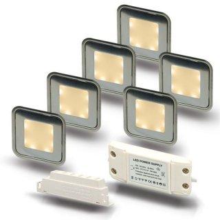 ARGOSeasy - SET: 6x LED (Boden-)Einbaustrahler Edelstahl quadratisch IP54 warmweiß + Netzteil