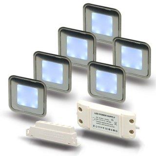 ARGOSeasy - SET: 6x LED (Boden-)Einbaustrahler Edelstahl quadratisch IP54 kaltweiß + Netzteil